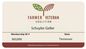 Farmer Veteran Coalition membership card for Schuyler Geller