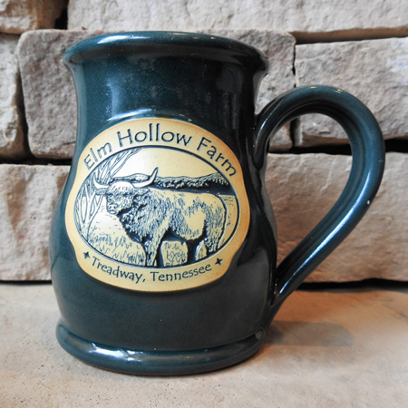 Large 12 ounce mug in teal glaze color with Elm Hollow Farm logo embossed